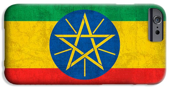 Ethiopia iPhone Cases - Ethiopia Flag Vintage Distressed Finish iPhone Case by Design Turnpike