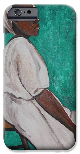 Ethiopian Woman iPhone Cases - Ethiopian Woman in Green iPhone Case by Esther Newman-Cohen