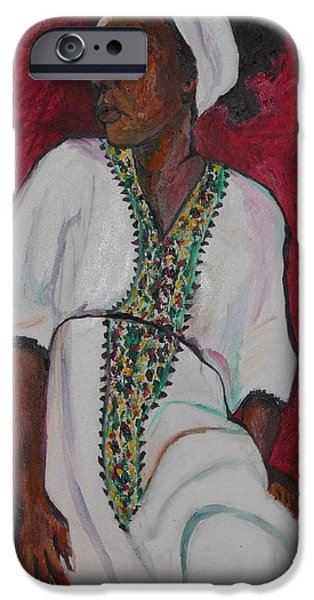 Ethiopian Woman iPhone Cases - Ethiopian Woman in Red iPhone Case by Esther Newman-Cohen