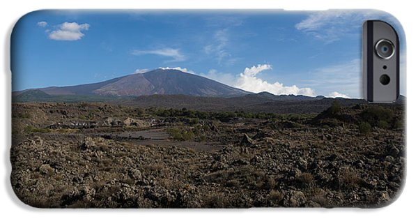 Moonscape iPhone Cases - Etna Did This - the Lava Fields and the Volcano  iPhone Case by Georgia Mizuleva