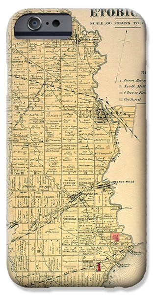 Canada Map iPhone Cases - Etobicoke Map 1878 iPhone Case by Nomad Art And  Design