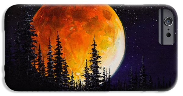 Wet On Wet Paintings iPhone Cases - Ettenmoors Moon iPhone Case by C Steele
