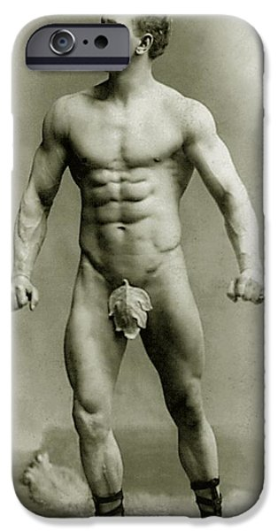 Nudes Photographs iPhone Cases - Eugen Sandow in classical ancient Greco Roman pose iPhone Case by American Photographer