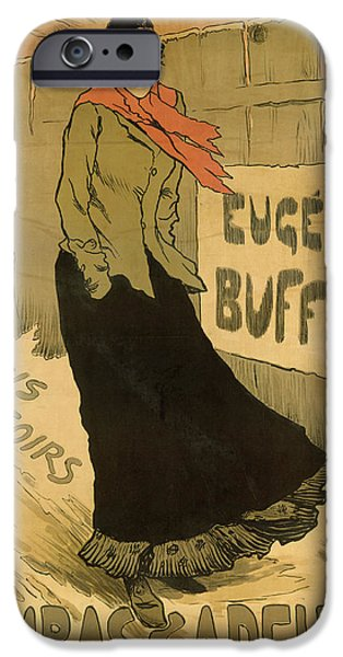 Fence Drawings iPhone Cases - Eugenie Buffet poster iPhone Case by Lucien Metivet