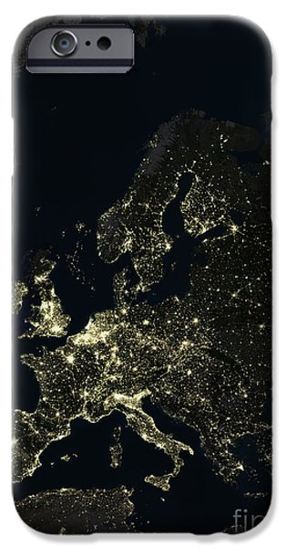 North Sea iPhone Cases - Europe At Night iPhone Case by Planet Observer