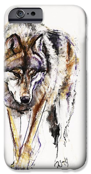 Animal Cards Pastels iPhone Cases - European Wolf iPhone Case by Mark Adlington