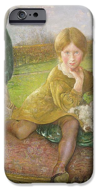 Portraits Female Paintings iPhone Cases - Evelyn iPhone Case by Annie Louisa Swynnerton