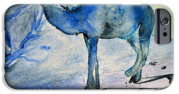 Monotone Paintings iPhone Cases - Even Camels Get The Blues iPhone Case by Beverley Harper Tinsley