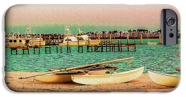 Deer At The Beach iPhone Cases - Coastal - Boats - Evening at the Beach iPhone Case by Barry Jones