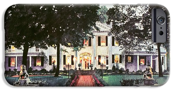 Pathway iPhone Cases - Evening At The Governors Mansion iPhone Case by David Lloyd Glover