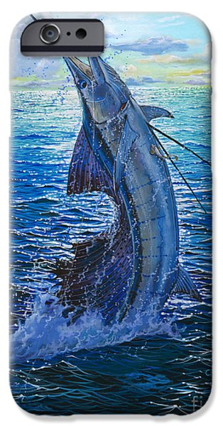 Sailfish Paintings iPhone Cases - Evening Bite iPhone Case by Carey Chen