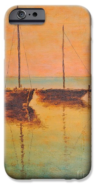 Waterscape Paintings iPhone Cases - Evening boats iPhone Case by Jiri Capek