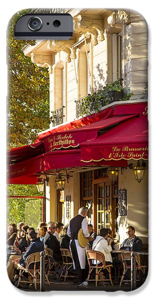 Waiter Photographs iPhone Cases - Evening Cafe - Paris iPhone Case by Brian Jannsen