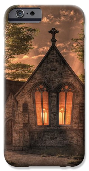 Christian Art iPhone Cases - Evening Chapel iPhone Case by Christian Art