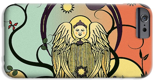 Night Angel iPhone Cases - Evening Comforts Nouveau Abstract iPhone Case by Deborah Smith