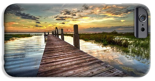 Fl iPhone Cases - Evening Dock iPhone Case by Debra and Dave Vanderlaan