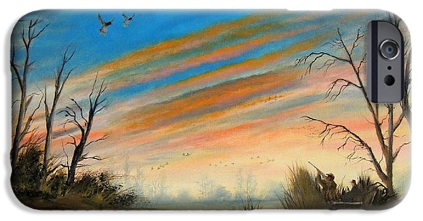 Waterscape Paintings iPhone Cases - Evening Duck Hunt iPhone Case by Bill Holkham