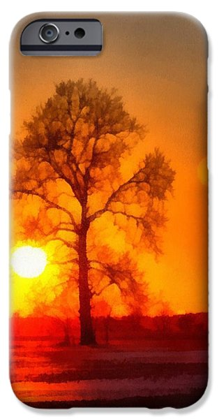 Evening Mixed Media iPhone Cases - Evening Ember Sunset iPhone Case by Dan Sproul