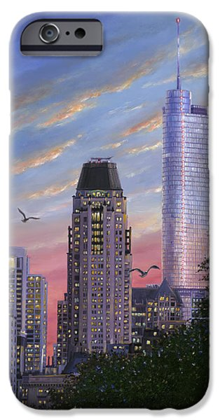 Chicago Paintings iPhone Cases - Evening Flight iPhone Case by Doug Kreuger