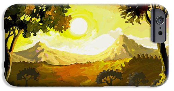 Sun Rays Paintings iPhone Cases - Evening Gold iPhone Case by Anthony Mwangi
