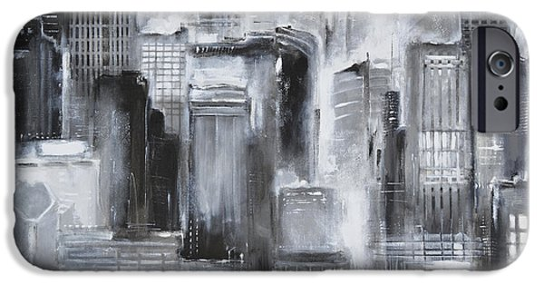 Wrigley Paintings iPhone Cases - Evening in Chicago - Black and White Painting iPhone Case by Kathleen Patrick
