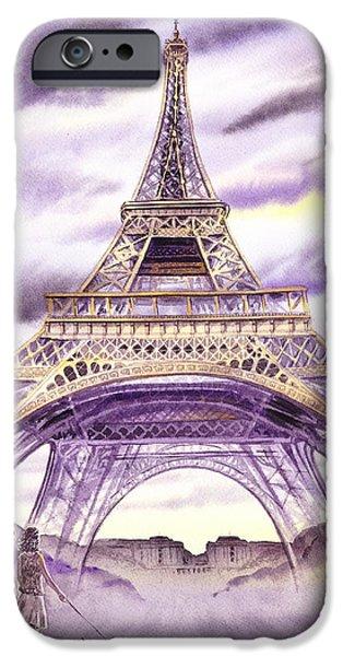 Paris Paintings iPhone Cases - Evening In Paris A Walk To The Eiffel Tower iPhone Case by Irina Sztukowski