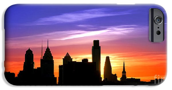 Center City iPhone Cases - Evening in Philly iPhone Case by Olivier Le Queinec