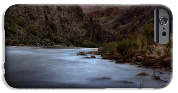 Grand Canyon Digital Art iPhone Cases - Evening in the Canyon iPhone Case by Ellen Heaverlo