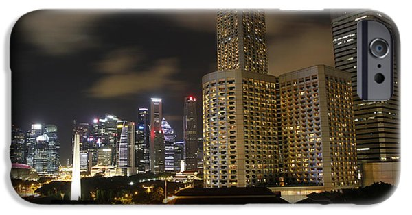 Finance iPhone Cases - Evening in Singapore City3 iPhone Case by John Wallace