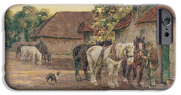 The Horse iPhone Cases - Evening iPhone Case by Joseph Harold Swanwick
