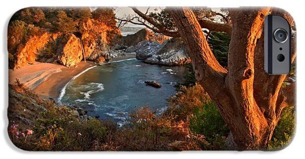 Big Sur Ca iPhone Cases - Evening Light At Pfeiffer Burns iPhone Case by Adam Jewell