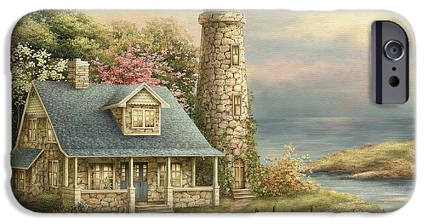Lighthouse Mixed Media iPhone Cases - Evening lights iPhone Case by Beverly Levi-Parker