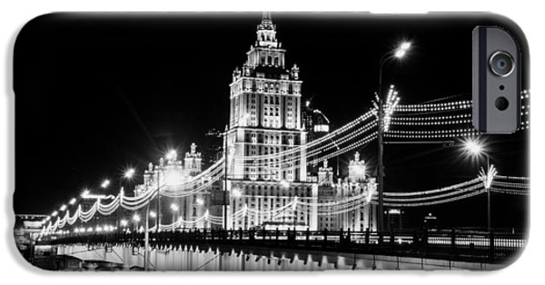 Moscow iPhone Cases - Evening Lights of Moscow iPhone Case by Mountain Dreams