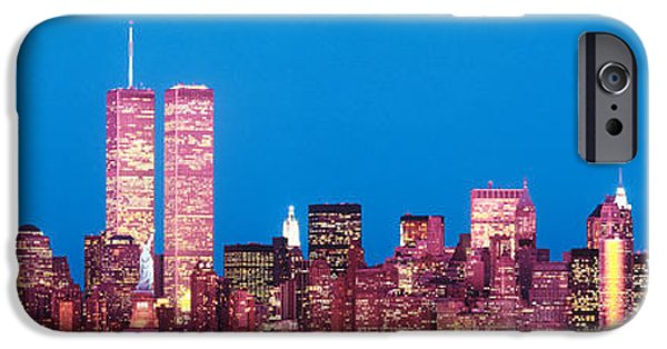 Twin Towers Nyc iPhone Cases - Evening Lower Manhattan New York Ny iPhone Case by Panoramic Images