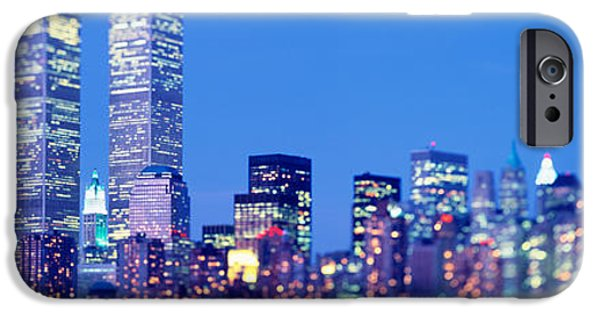 Twin Towers Nyc iPhone Cases - Evening, Lower Manhattan, Nyc, New York iPhone Case by Panoramic Images