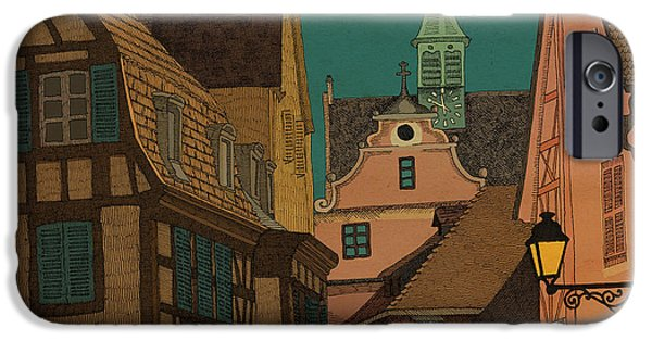 Village Mixed Media iPhone Cases - Evening iPhone Case by Meg Shearer