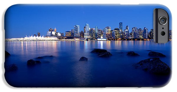 Burrard Inlet iPhone Cases - Evening Moon Over Vancouver Harbour 1 iPhone Case by Terry Elniski