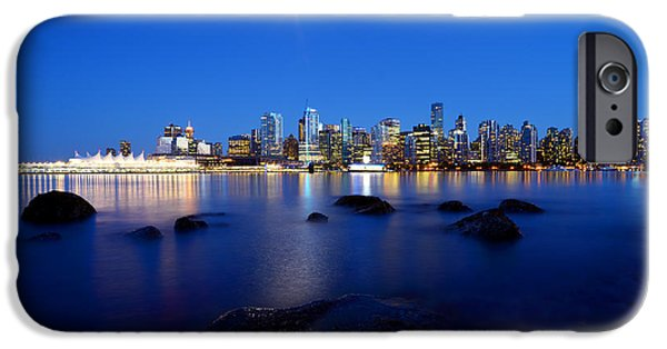 Burrard Inlet iPhone Cases - Evening Moon Over Vancouver Harbour 2 iPhone Case by Terry Elniski