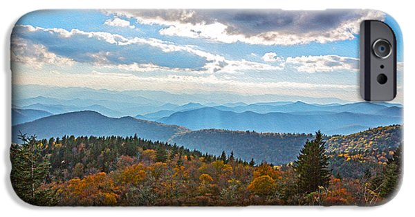 Smokey Mountains Paintings iPhone Cases - Evening on the Blue Ridge Parkway iPhone Case by John Haldane