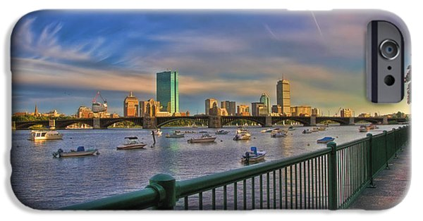 Boston Nightscape iPhone Cases - Evening on the Charles - Boston Skyline iPhone Case by Joann Vitali