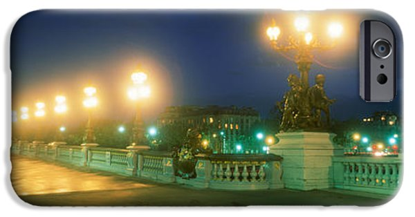Night Lamp iPhone Cases - Evening Paris France iPhone Case by Panoramic Images