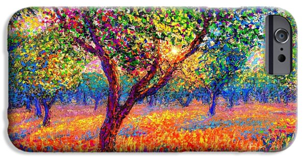 Apple Trees iPhone Cases - Evening Poppies iPhone Case by Jane Small