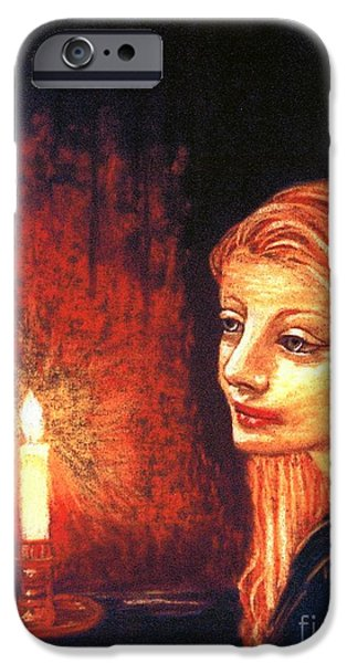 Flames Paintings iPhone Cases - Evening Prayer iPhone Case by Jane Small