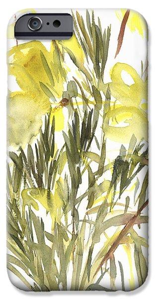 Primroses iPhone Cases - Evening primroses iPhone Case by Claudia Hutchins-Puechavy