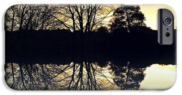 Reflecting Trees iPhone Cases - Evening reflections iPhone Case by Sharon Lisa Clarke