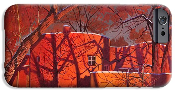 Mood Paintings iPhone Cases - Evening Shadows on a Round Taos House iPhone Case by Art James West
