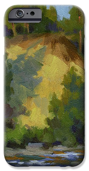 Evening iPhone Cases - Evening Shadows Teanaway River iPhone Case by Diane McClary