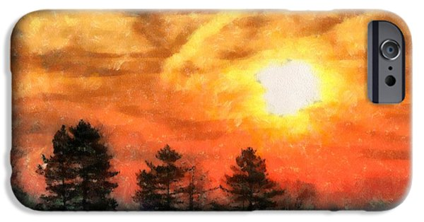 Evening Mixed Media iPhone Cases - Evening Solace Sunset Silhouettes iPhone Case by Dan Sproul