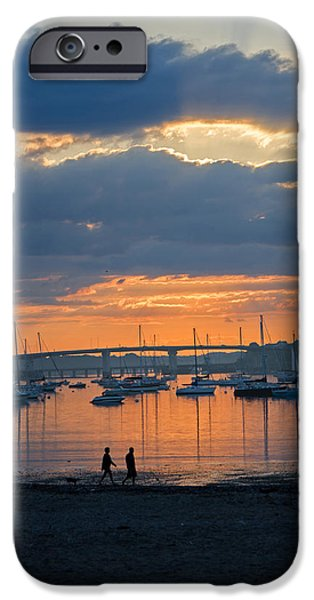 Sunset Glass Art iPhone Cases - Evening Stroll  iPhone Case by Susan  McMenamin