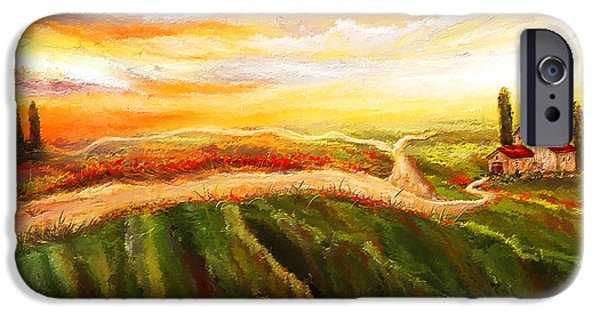 Vineyard Art iPhone Cases - Evening Sun - Glowing Tuscan Field Paintings iPhone Case by Lourry Legarde